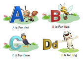 Ant, Bee, Crow and Dog with Alphabate