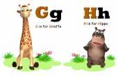 Fotografia Giraffa e ippopotamo con Alphabate