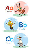 Ant , Bee and caw with Alphabate