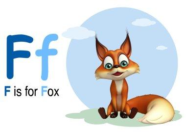 Fox wild animal with alphabate
