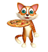 Photo fun cat cartoon character with pizza