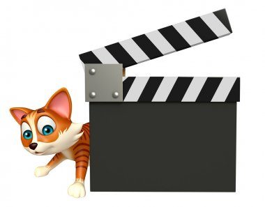 cute cat cartoon character with clapper board