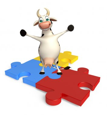 cute Cow cartoon character with puzzle