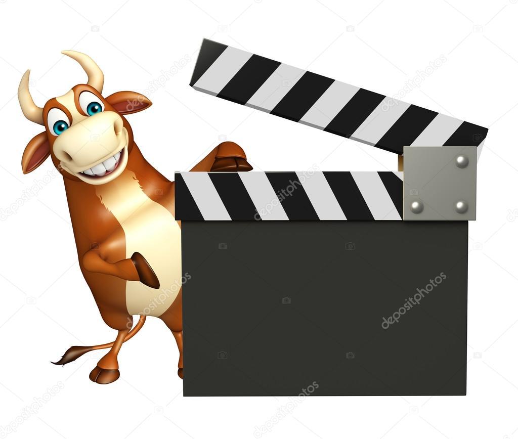 Simpatico personaggio dei cartoni animati di toro con bordo di