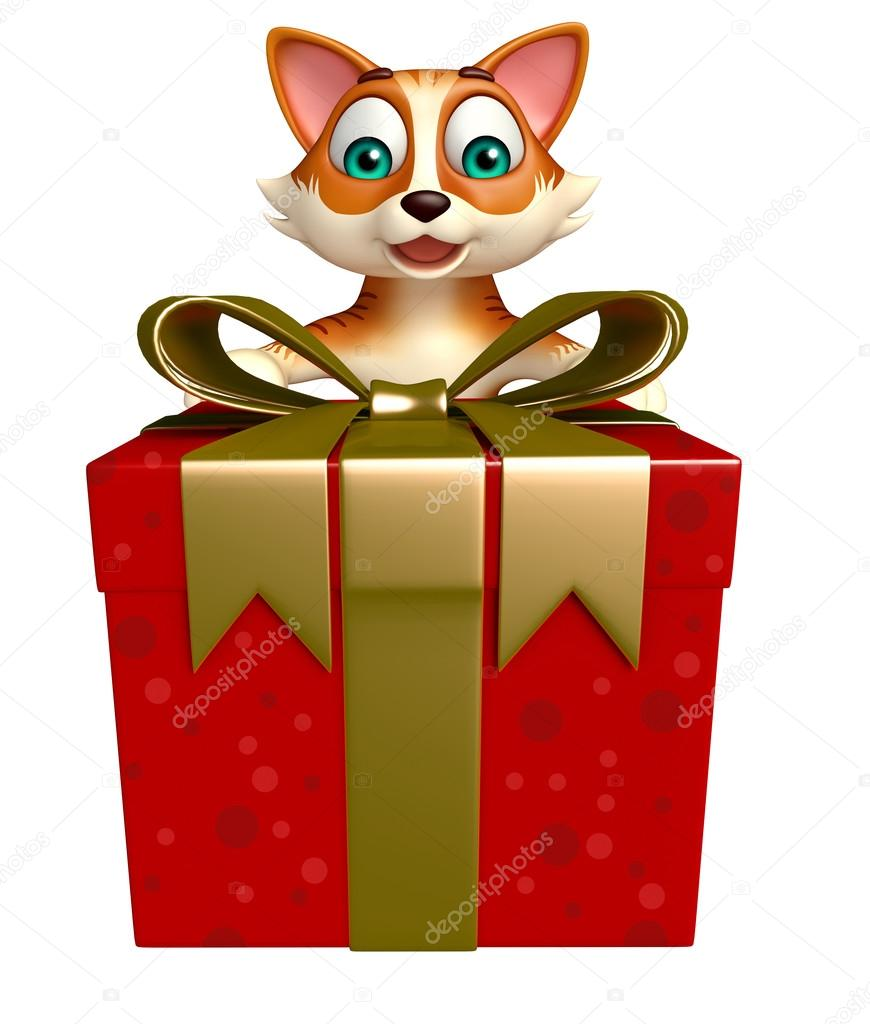 Fun cat cartoon character with gift box stock photo 3d rendered illustration of cat cartoon character with gift box photo by visible3dscience negle Gallery