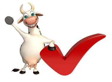Cow cartoon character with right sign
