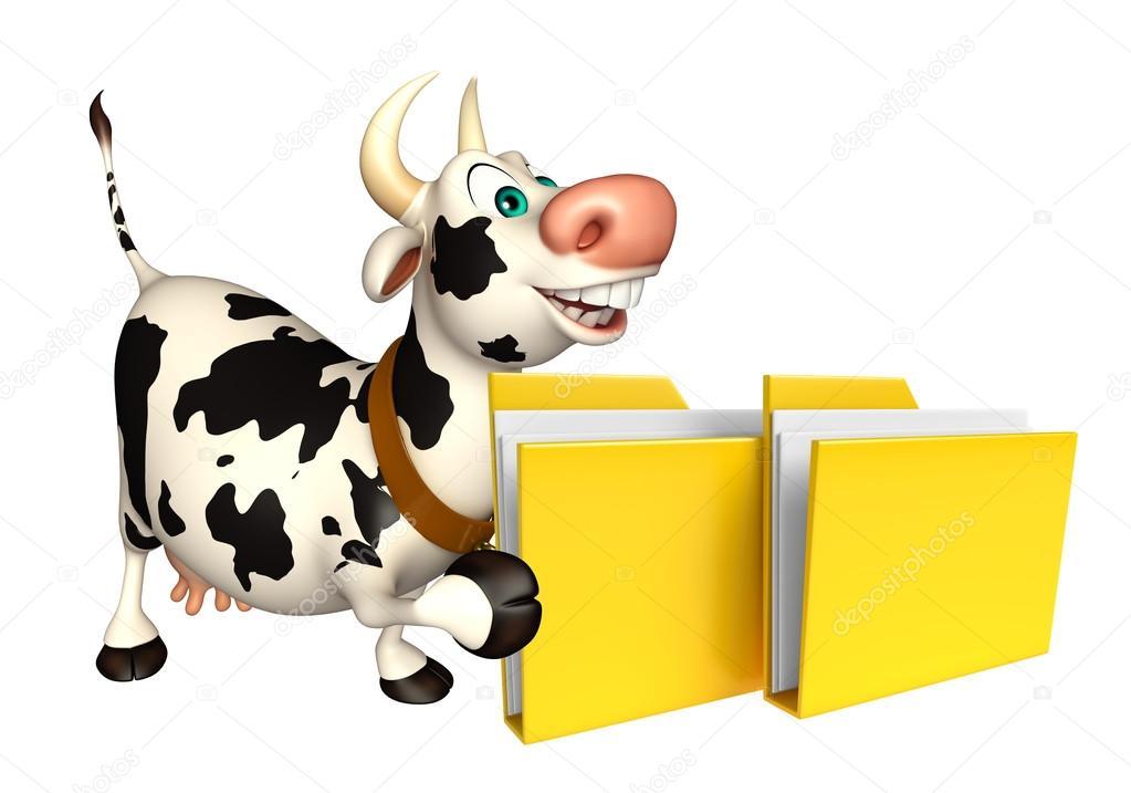 Personaggio dei cartoni animati della mucca con cartella
