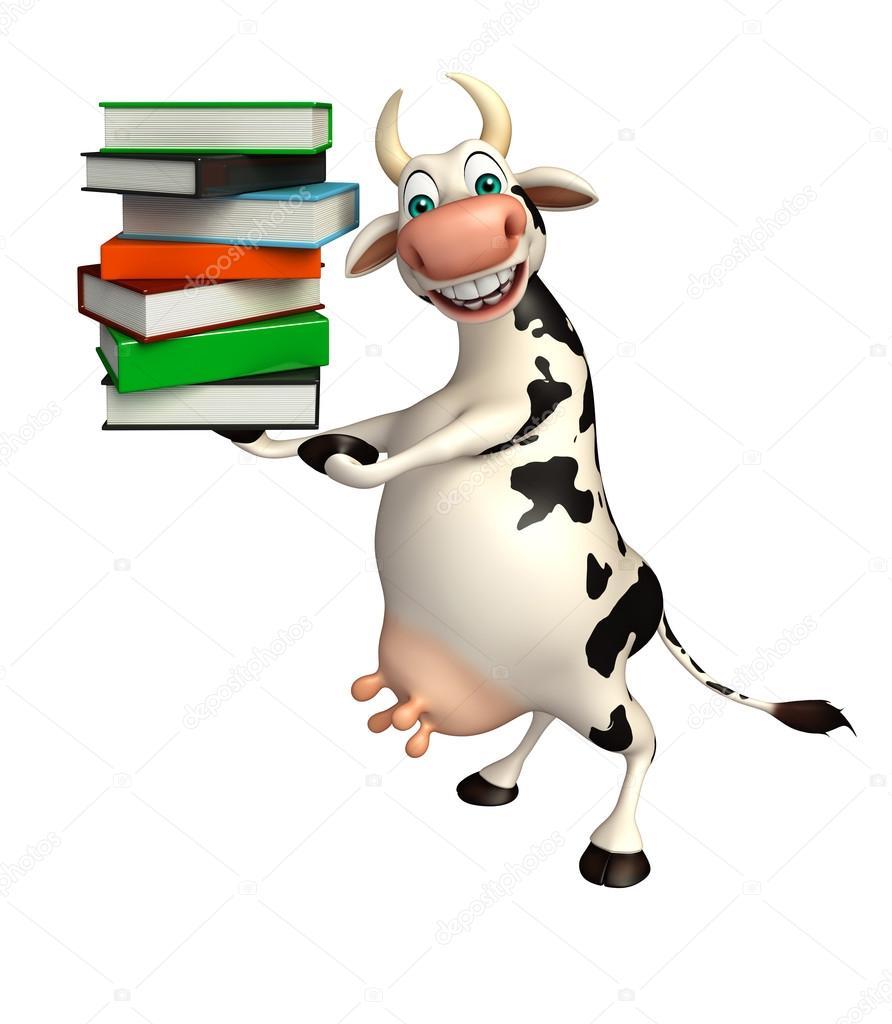 personnage de dessin animé mignon vache avec pile de livre