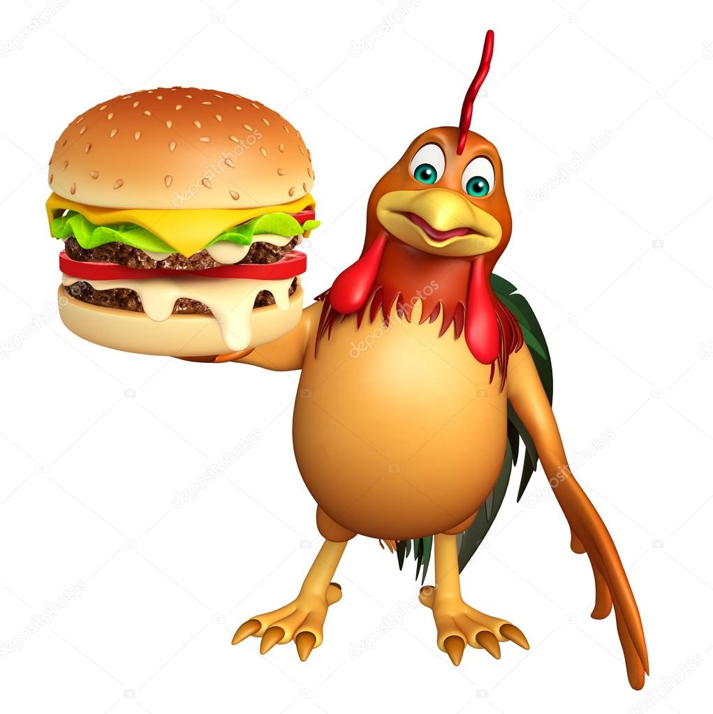 Cute chicken cartoon character with burger stock photo visible3dscience 102659094 - Poulet dessin ...