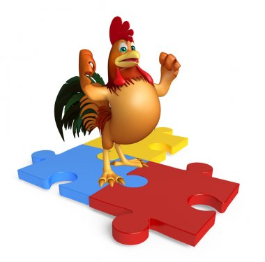 cute Chicken cartoon character with puzzle