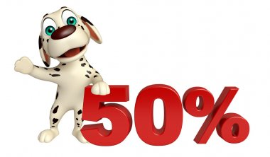 cute Dog cartoon character  with 50% sign