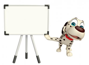 fun Dog cartoon character  with white board