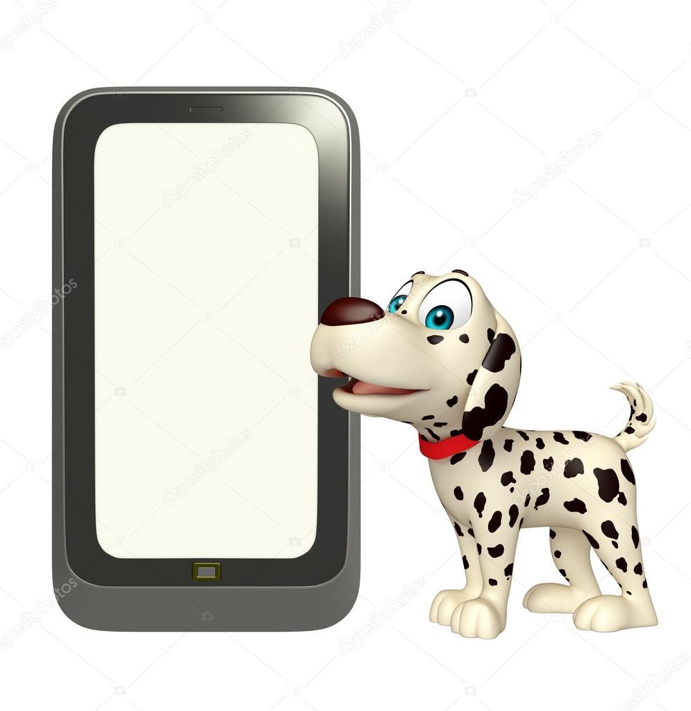 携帯電話で犬漫画のキャラクター ストック写真