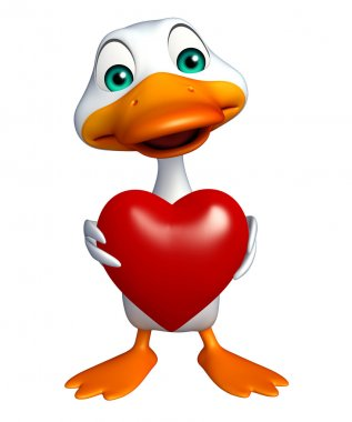Duck cartoon character with heart