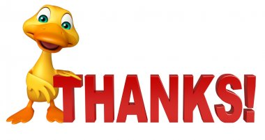 cute Duck cartoon character with thanks sign
