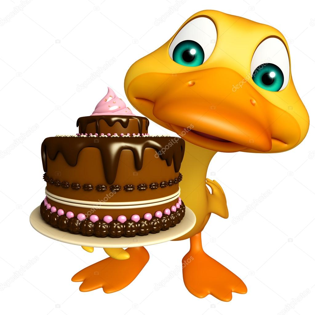 cute Duck cartoon character with cake — Stock Photo ...