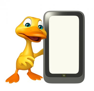 fun Duck cartoon character with mobile