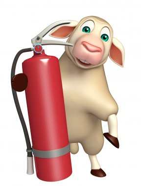 Sheep cartoon character with fire extinguisher