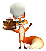 Photo Fox cartoon character with chef hat with cake