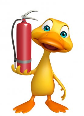 Duck cartoon character with fire extinguisher