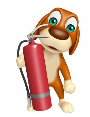 Dog cartoon characte with fire extinguisher