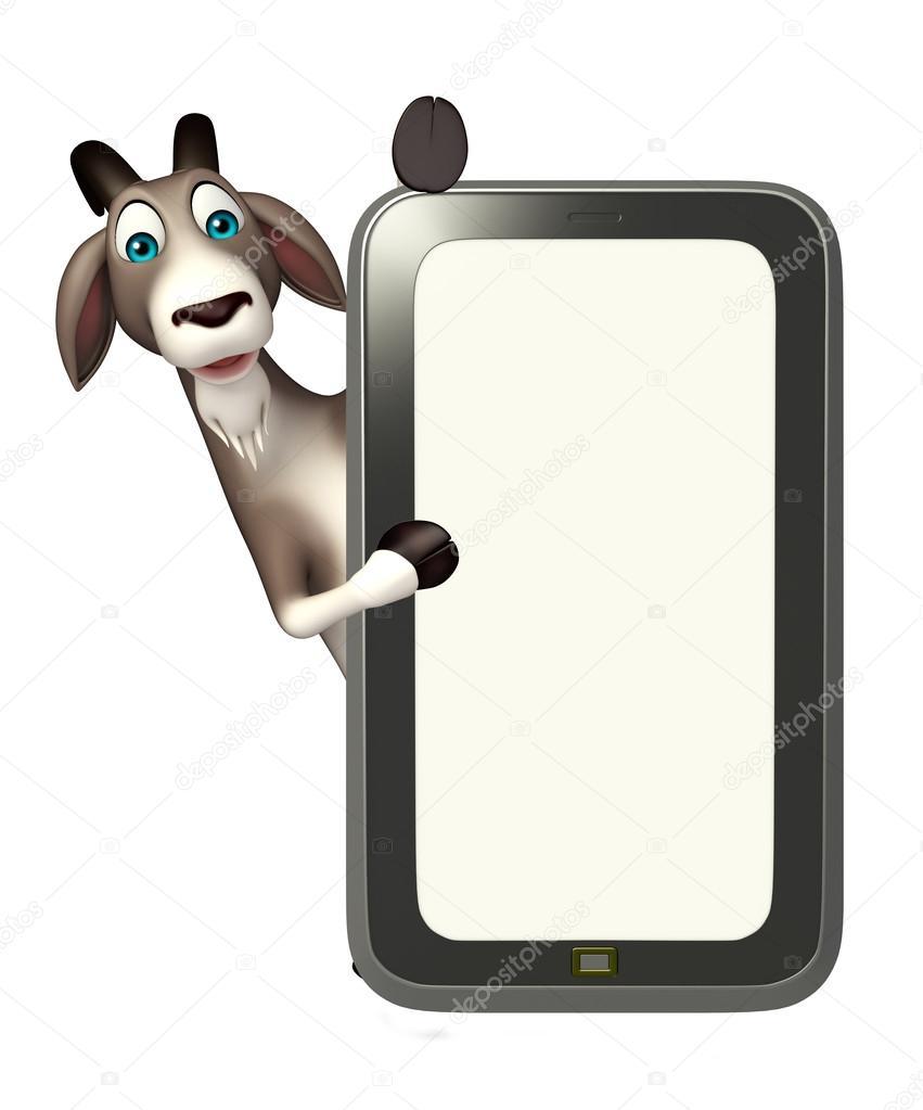 楽しい携帯電話でヤギの漫画のキャラクター ストック写真