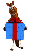cute Horse cartoon character with giftbox