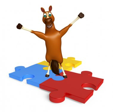 cute Horse cartoon character with puzzle sign