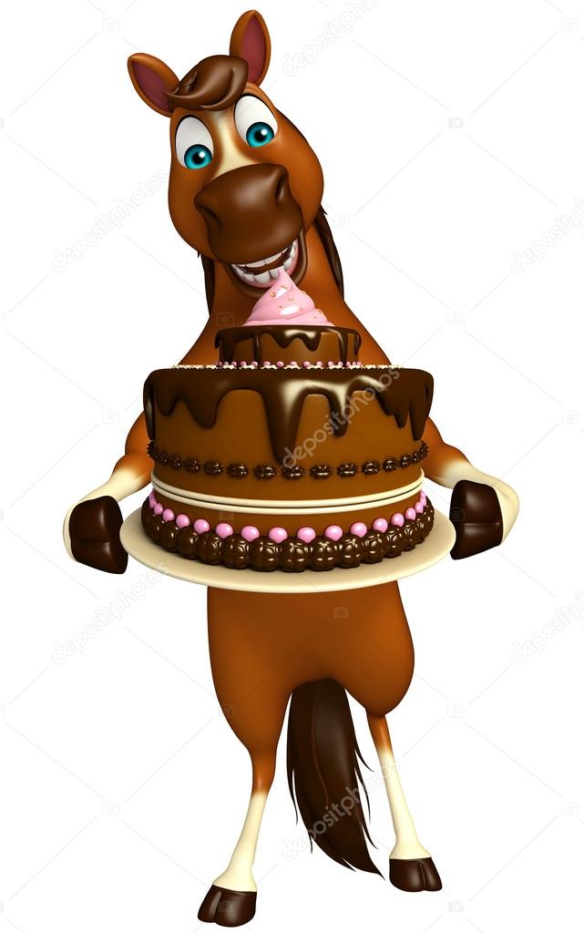 Cute Horse Cartoon Character With Cake Stock Photo C Visible3dscience 102767314