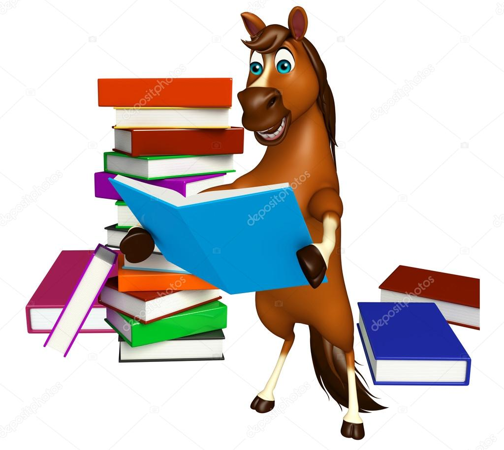 Fun Horse Cartoon Character With Books Stock Photo C Visible3dscience 102772526