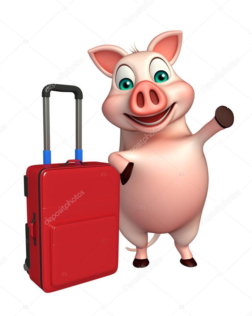 Personaggio dei cartoni animati di maiale con il sacchetto di