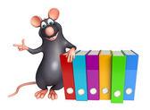 Fotografie Rat kreslená postava se soubory
