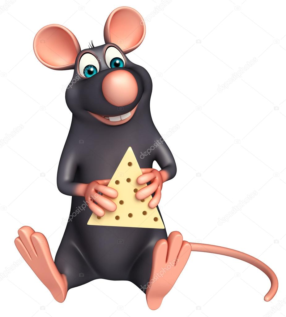 Sitting Rat Cartoon Character With Paneer Stock Photo C Visible3dscience 102781202