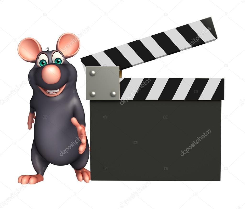 lindo personaje de dibujos animados de rata con tablilla — Foto de ...