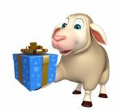 roztomilý ovce kreslená postava s giftbox