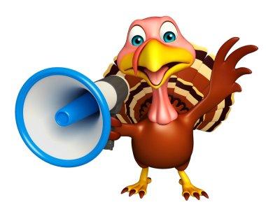 Turkey  cartoon character with loud speaker