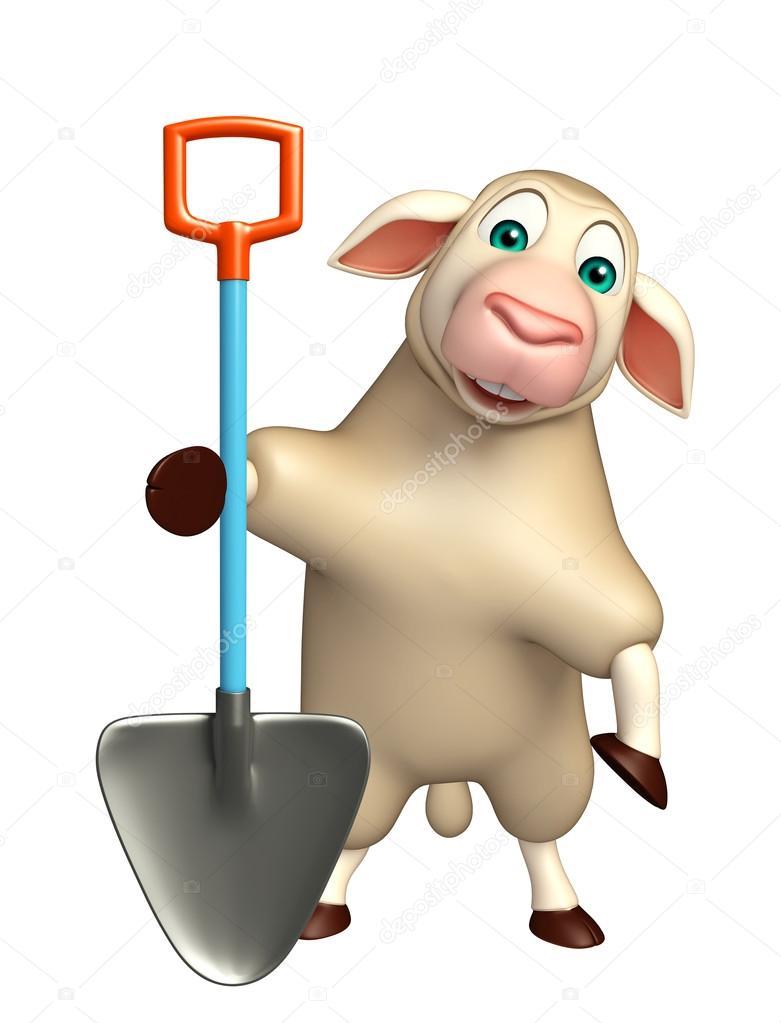 Personaggio dei cartoni animati sveglio delle pecore con lo