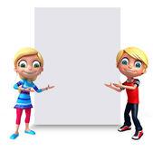 3D vykreslení malý chlapec a dívka s bílou tabuli
