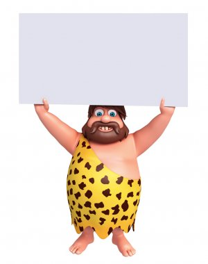 Cartoon caveman with a white board