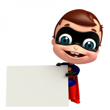 3D Rendered illustration of superbaby with white board