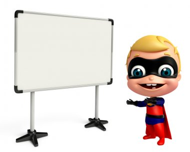cute baby as a superhero with white board