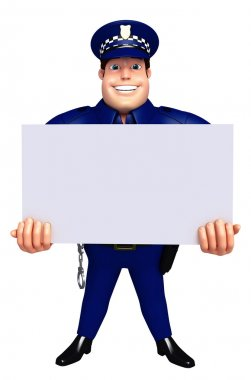 3D Rendered illustration of Police with white board