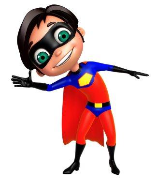 cute boy as a superhero funny pose