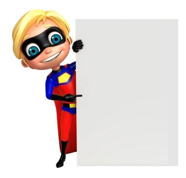cute boy as a superhero with white board