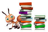 Photo cute Ant cartoon character with book stack