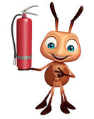 Photo fun Ant cartoon character with  fire extinguisher