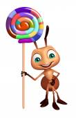 Ant cartoon character with lollypop