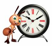 Photo Ant cartoon character with clock