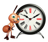 Ant cartoon character with clock