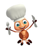 Photo Ant cartoon character with chef hat and spoons